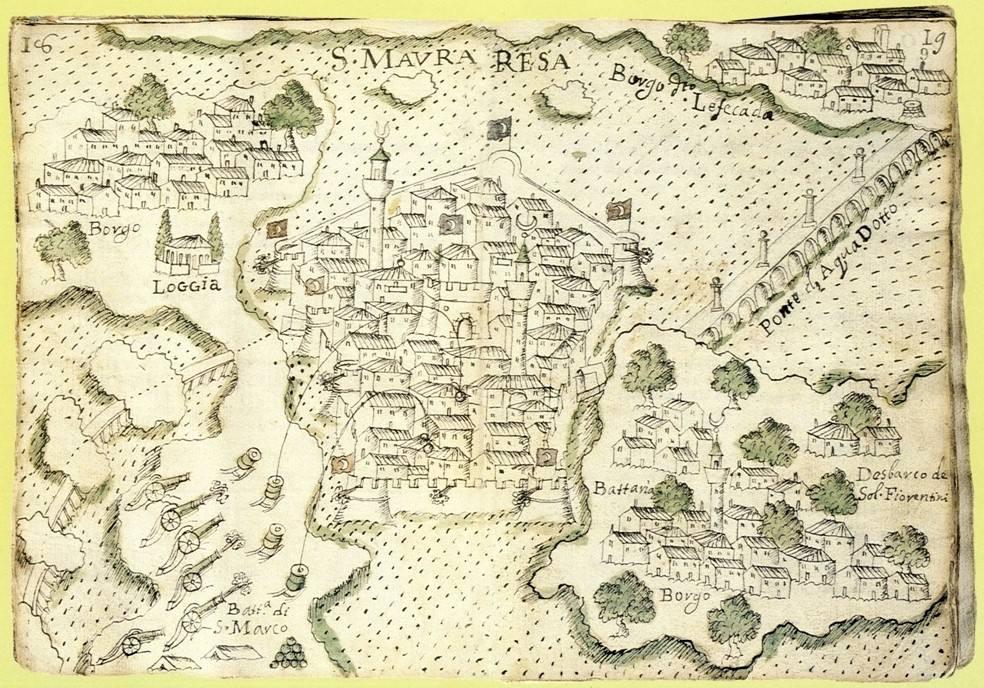 Η Αγία Μαύρα (μέσα στο Φρούριο), η Αμαξική, η Χώρα, η Άλλη Μεριά και το Υδραγωγείο το 16843