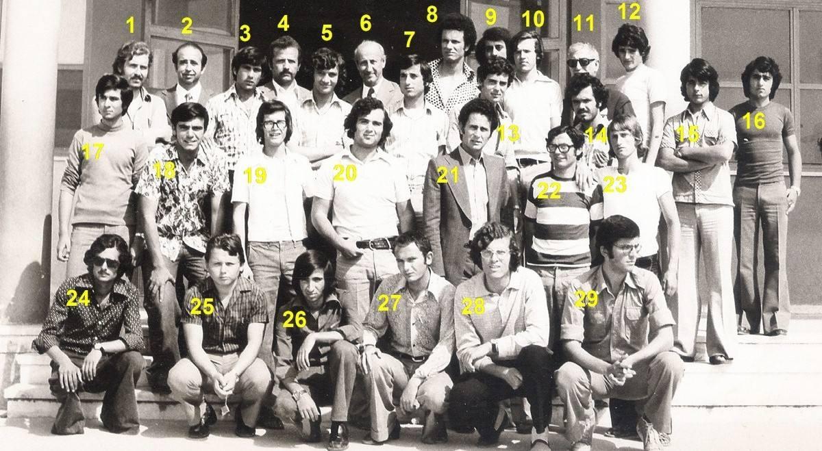 1) Χαράλαμπος Σουλαϊδόπουλος – 2) Οδυσσέας Μανωλίτσης (καθηγητής) – 3) Βασίλης Κοψιδάς – 4) Θανάσης Ραυτόπουλος (καθηγητής) – 5) Παναγιώτης Φέτσης – 6) Σταύρακaς Φώντας (καθηγητής) – 7) Στάθης Λάζαρης – 8) Θοδωρής Σολδάτος – 9) Μάρκος Δούκας – 10) Νίκος Κονιδάρης – 11) Γιώργος Καββαδάς (καθηγητής) – 12) Νίκος Καρτάνος – 13) Γιάννης Ζαβιτσάνος – 14) ; Γαβρίλης – 15) Δημήτρης Γαντζίας – 16) Δημήτρης Γερούλης – 17) Αντώνης Σίδερης – 18) Κώστας Αραβανής – 19) Παύλος Αρβανίτης – 20) Γιώργος Γεωργάκης – 21) Μιχάλης Ξένος (καθηγητής) – 22) Φίλιππος Φέτσης – 23) Γιώργος Γεωργάκης – 24) Ζώης Τζεφρώνης – 25) Κώστας Τσερές – 26) Σωκράτης Παπαδόπουλος – 27) Γιώργος Αυλωνίτης – 28) Πέτρος Ματαράγκας – 29) Αποστόλης Φραγκούλης