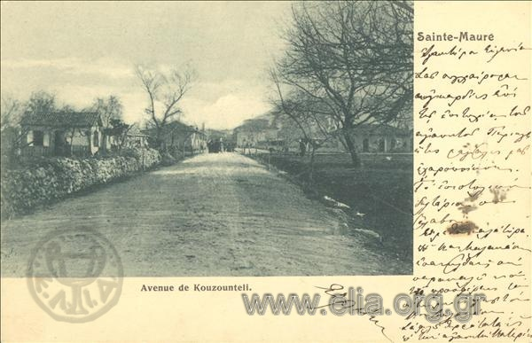 Τίτλος Sainte - Maure. Avenue de Kouzounteli. Χρονολογία αποστολής 1905