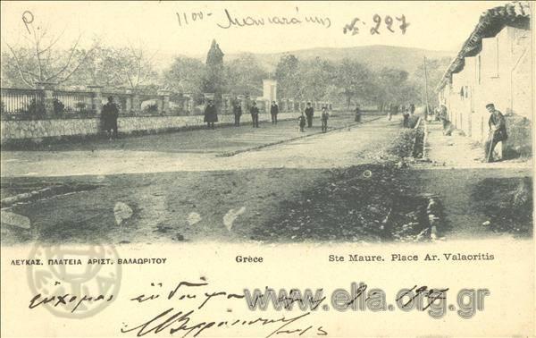 Τίτλος Λευκάς. Πλατεία Αριστ. Βαλαωρίτου. Χρονολογία αποστολής 1906