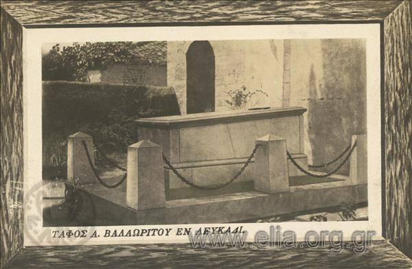 Τίτλος Τάφος Α. Βαλαωρίτου εν Λευκάδι. Χρονολόγηση 1920 δεκαετία
