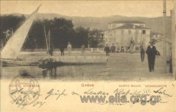Τίτλος Λευκάς. Αποβάθρα. Χρονολογία αποστολής 1904