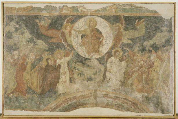 Στο κέντρο της σύνθεσης εικονίζεται ο Χριστός καθισμένος σε ουράνιο τόξο μέσα σε φωτεινό δίσκο (δόξα), τον οποίο φέρουν δύο άγγελοι. Στη στεφάνη της δόξας διακρίνονται και άλλοι άγγελοι, αποδοσμένοι σε μονοχρωμία. Χαμηλότερα παριστάνονται οι απόστολοι, να χειρονομούν ζωηρά. Είναι χωρισμένοι σε δύο ομίλους, με δύο λευκοντυμένους αγγέλους επικεφαλής. Τον άγγελο του αριστερού ομίλου ακολουθεί η Θεοτόκος με τα χέρια υψωμένα σε δέηση. Στο βάθος δεσπόζουν τρεις βράχοι, ενώ ελαιόδενδρα παραπέμπουν στο Όρος των Ελαιών, όπου διαδραματίστηκε η Ανάληψη σύμφωνα με την Αγία Γραφή. Η τοιχογραφία έχει αποτοιχισθεί από το καθολικό της μονής της Παναγίας Οδηγήτριας στην Απόλπαινα της Λευκάδας και ζωγραφίστηκε στα μέσα του 15ου αιώνα, εποχή κατά την οποία το νησί ανήκε στο Δουκάτο της Κεφαλληνίας, με ηγεμόνες τη φλωρεντινή οικογένεια των Τόκκων. Οι τοιχογραφίες του ναού, έργα αξιόλογου Βυζαντινού ζωγράφου, συνδυάζουν με μοναδικό τρόπο στοιχεία από τη βυζαντινή και τη Δυτική (υστερογοτθική) τέχνη. Πηγή: (byzantinemuseum.gr)