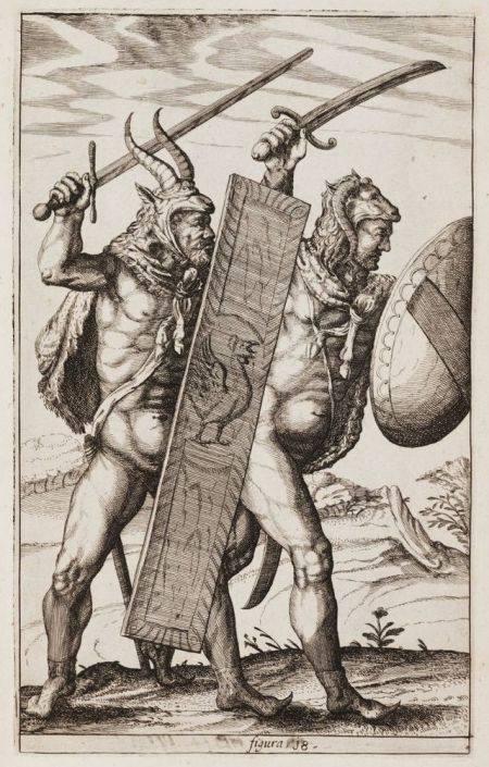 Αρχαίοι Γερμανοί πολεμιστές από τη σειρά χαλκογραφιών Germania Antiqua - Φίλιπ Κλίβερ, 1616. Πηγή: Βικιπαίδεια
