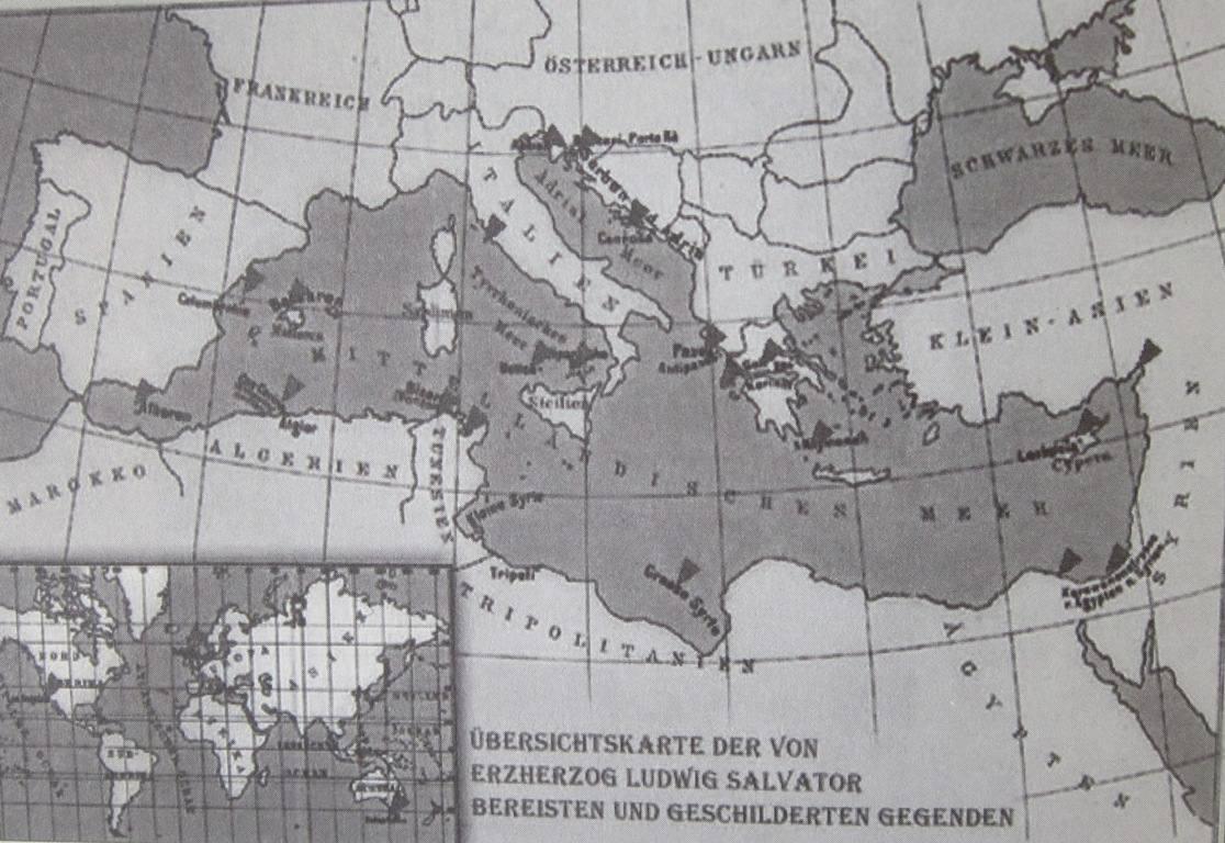 Χαρτογραφική αποτύπωση των περιηγήσεων του Λουδοβίκου Σαλβατόρ