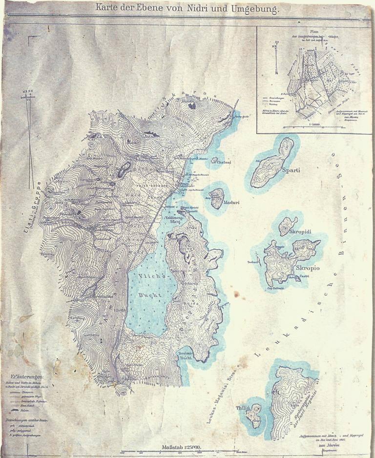 Χάρτης της πεδιάδας στο Νυδρί και τα περίχωρα. (1927) Από το έργο: Wilhelm Dorpfeld, Alt Ithaka, Μόναχο 1 927. Το θέμα της Λευκάδας ως Ομηρικής Ιθάκης διατύπωσε και υποστήριξε ο σπουδαίος γερμανός ομηριστής Wilhelm Dorpfeld στο πολύκροτο έργο το Alt Ithaka, το οποίο εμπλουτίστηκε με χαρτογραφήσεις εγγυημένης ακρίβειας. Το έργο επιφοροτίστηκε ο γερμανός λοχαγός Walter von Maries ο οποίος, για ένα οκτάμηνο το 1905, συνέλεξε επιτοπίως στοιχεία. Οι χαρτογραφικές του εργασίες συμπληρώθηκαν μετά τον θάνατό του από τον λοχαγό Konrad Grafihhoff(1910). Από τους είκοσι χάρτες, χαρακτηριζόμενους στο έργο ως πίνακες, στον συγκεκριμένο δίδονται λεπτομέρειες των διαφόρων τοποθεσιών στην περιοχή Νυδρί και τον όρμο Βλυχού.