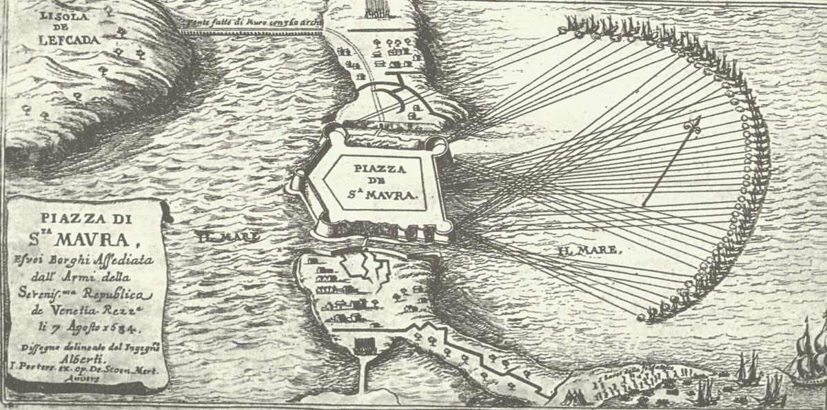 Αναπαράσταση της μάχης του 1684 στα νερά της Λευκάδας Η καθοριστική για την Ιστορική μοίρα της Λευκάδας μάχη (7 Αυγούστου 1684) που άλλαξε κυριάρχους στο νησί, η ναυμαχία που έφερε τους Βενετούς ως νέους άρχοντες, απεικονίστηκε στο Teatro della Guerra cont oil Turco, τον ιταλικό αυτό «ύμνο των μαχών» που κατέγραψε εικαστικά τις νικηφόρες μάχες των Ενετών. Έργο του Giovani Giacomo Rossi έρχεται να στέψει και να υπενθυμίζει τις λαμπρές νίκες της Χριστιανοσύνης.