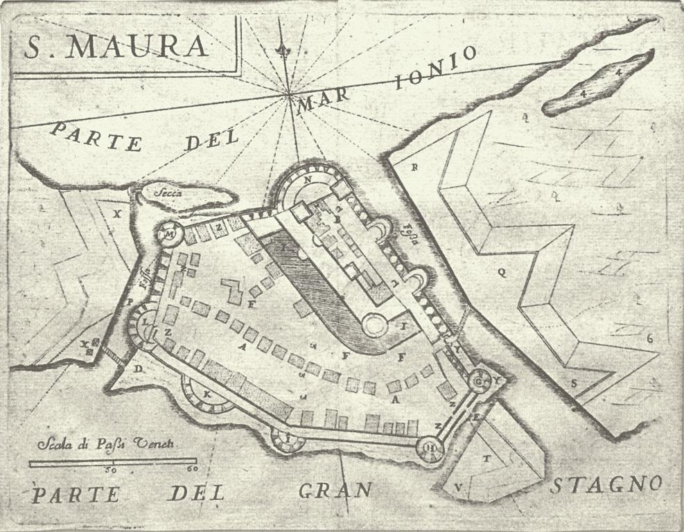 Κάτοψη του Κάστρου (1686). Το δεύτερο σχέδιο του Vincenzo Maria Coronelli που απεικονίζει τις τροποποιήσεις των Βενετσιάνων αμέσως μετά την κατάληψή του κάστρου (1684). Έκτοτε τις απεικονίσεις και τα σχέδια αυτά τα συναντάμε να συνοδεύουν πάμπολλες επανεκδόσεις ή μεταφράσεις των έργων του Coronelli ή ακόμα και να εικονογραφούν μεταγενέστερα ταξιδιωτικά χρονικά, ιστορικές εκδόσεις και γεωγραφικά έργα.