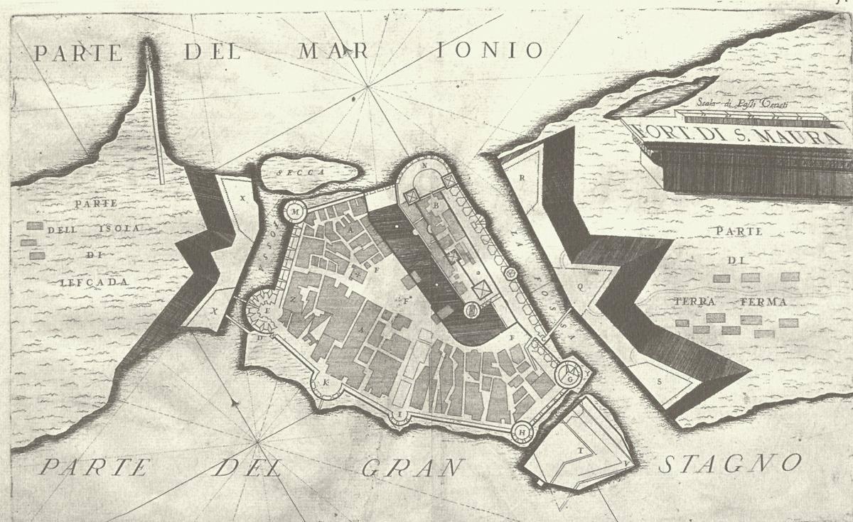 Κάτοψη του Κάστρου της Αγίας Μαύρας (1686) Η Χαρτογραφική δραστηριότητα των Ενετών του 17ου αιώνα οφείλεται κατά κύριο λόγο στον Vincenzo Maria Coronelli (1650-1718), ιδρυτή της Γεωγραφικής Ακαδημίας. Πρόκειται για το πρώτο σχέδιο του Coronelli όπου απεικονίζεται η κατάσταση του φρουρίου αμέσως μετά την κατάληψη του από τους Βενετούς.