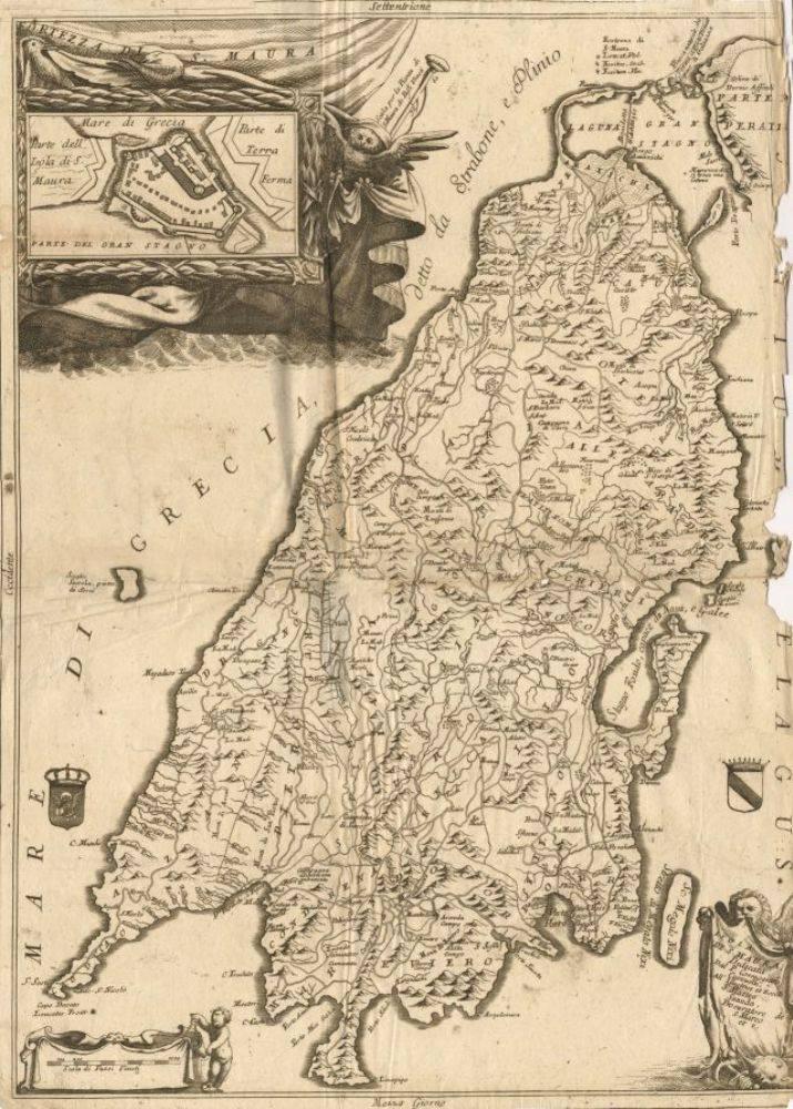 Η νήσος Αγία Μαύρα (1696) 0 Χάρτης της νήσου, παρουσιάστηκε στο Isolario του V. M. Coronelli μαζί με τα άλλα τρία γνωστά ήδη δικά του σχέδια. Στο Isolario καθώς και στα άλλα έργα του ή V. M. Coronelli ήδη από το 1686, διαβάζουμε για πρώτη φορά μία ολοκληρωμένη παρουσίαση του νησιού: καταχωρούνται οι αρχαίες ονομασίες και η ιστορία, η ιδιόμορφη γεωγραφική θέση και ο ισθμός σύνδεσης με την ηπειρωτική ακτή, τα ακρωτήρια, τοπωνύμια, ο βράχος και «το πήδημα της Σαπφούς», οι αρχαιότητες, η μυθολογία του χώρου, η πολιτεία της Αγίας Μαύρας, το υδραγωγείο, το φρούριο, τα σημαντικότερα χωριά.