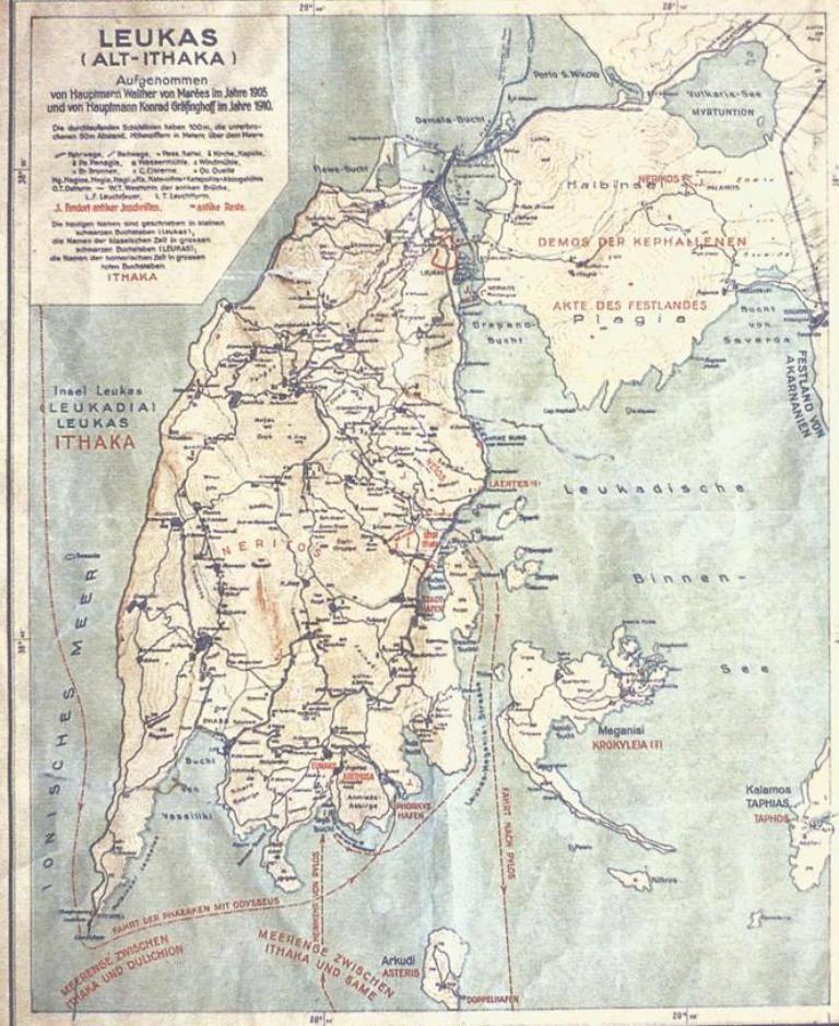 Χάρτης της νήσου Λευκάδας, οι παρακείμενοι νησίδες και η ακαρνανική ακτή (1927) Από το έργο: Wilhelm Dorpfeld, Alt Ithaka, Μόναχο 1927. Ο σπουδαίος γερμανός ομηριστής Wilhelm Dorpfeld συγκέντρωσε το σύνολο των ερευνών και εργασιών του σχετικών με την πραγματική πατρίδα του Οδυσσέα, στο έργο Alt Ithaka στο οποίο υποστήριζε ότι η Λευκάδα είναι η Ιθάκη του Ομήρου. Στον χάρτη δηλώνονται εκτός από τα ύψη υπέρ την στάθμη της θαλάσσης, οι δημόσιοι και ημιονικοί οδοί, οι εκκλησίες, οι υδρόμυλοι, τα πηγάδια, οι πηγές και με μαύρα κεφαλαία τα τοπωνύμια κλασσικής εποχής. Ομηρικά τοπωνύμια, πλόες και θέσεις αρχαιοτήτων δηλώνονται με ερυθρά στοιχεία.