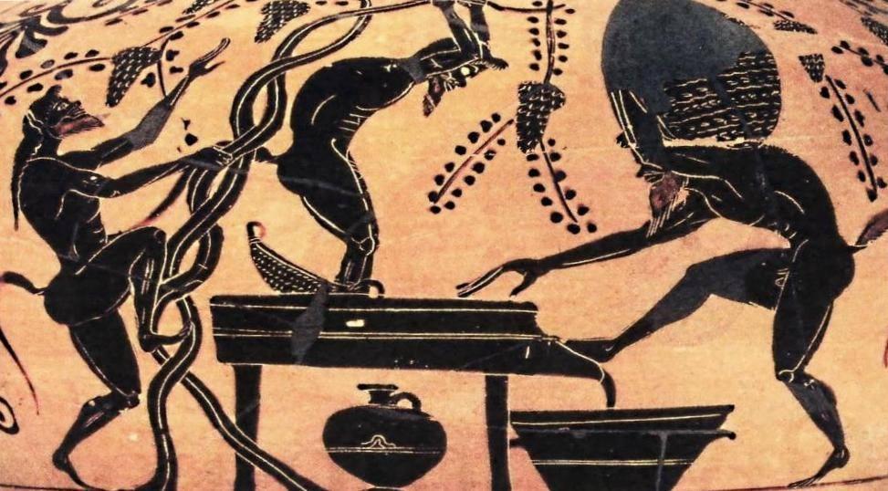 Ξύλινος «ληνός» όπου σειληνοί πατούν σταφύλια. Ο μούστος ρέει στο ευρύστομο «υποληνό». Παράσταση σε αττικό μελανόμορφο αμφορέα, 510 π.Χ.