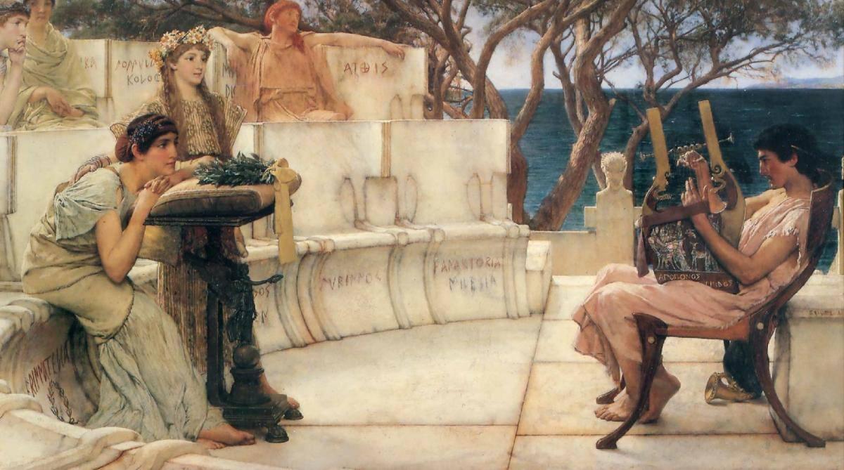 «Σαπφώ και Αλκαίος»: ελαιογραφία του Λόρενς Άλμα Ταντάμα, 1881. (The Walters Art Gallery, Βαλτιμόρη