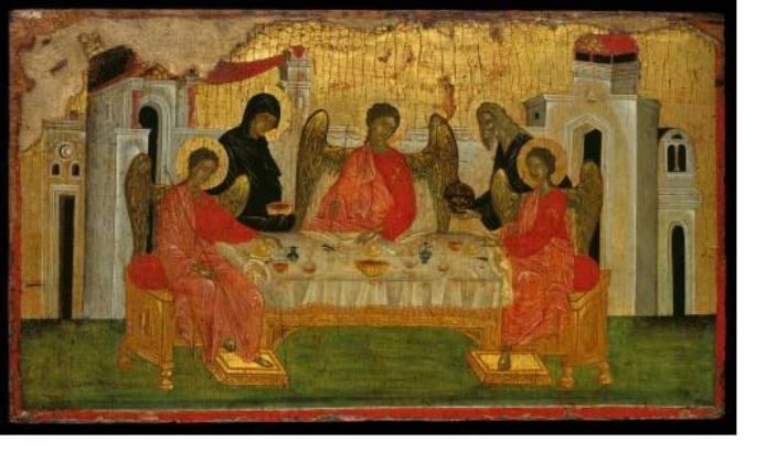 «Η Φιλοξενία του Αβραάμ»: Πολυύμνητη εικόνα του 14ου αι. από την Κωνσταντινούπολη. Η θαυμάσια τεχνική της αναδεικνύει την πνευματικότητα των μορφών, ενώ το στρωμένο για δείπνο τραπέζι με την κεντρική παρουσία του οίνου, αναδίδει τη συγκίνηση μια καθημερινής στιγμής. (Μουσείο Μπενάκη.