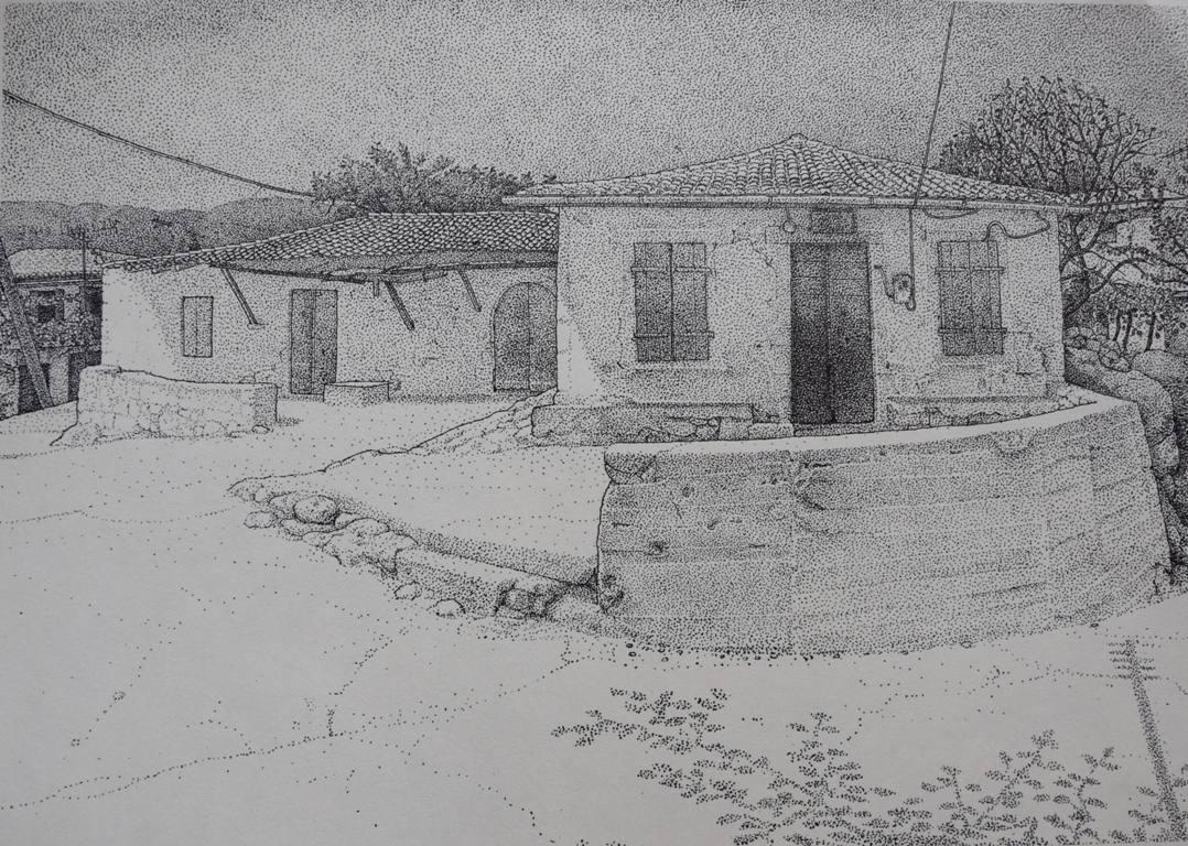 Το μαγαζί του χωριού, στο διπλανό κτίριο στεγαζόταν το παλιό αλογοκίνητο ελαιοτριβείο.