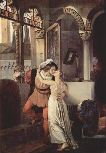 Francesco Hayez, To τελευταίο φιλί του Ρωμαίου και της Ιουλιέτας. 1823. Μουσείο της Villa Carlotta. Κόμο.