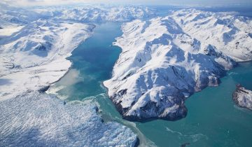15 Oct 2014 --- Aerial Of Hubbard Glacier Blocking Russell Fjord Ak Se Spring --- Image by © R.E. Johnson/Design Pics/Corbis