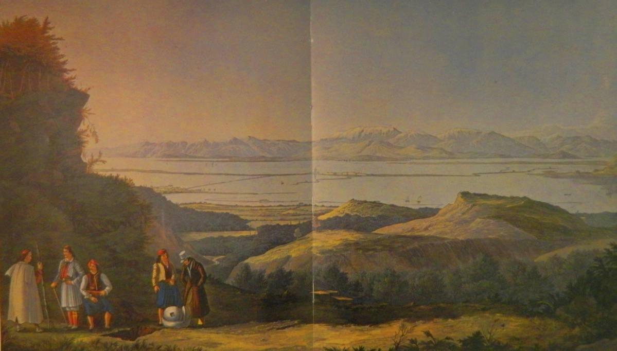 Λευκάδα. Άποψη από την ακρόπολη της αρχαίας πόλης (Santa Maura, from the upper Acropolis of ancient city of Leucadia), έγχρωμη χαλκογραφία (ακουατίντα), 61 Χ 38, σχεδίασε ο J. Cartwright, χάραξαν και χρωμάτισαν οι R. Havell και υιός, Γεννάδειος Βιβλιοθήκη