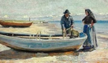 michael-peter-ancher-a-fisherman-and-his-wife-on-1923skagen-sønderstrand-in-the-background-the-lighthouse